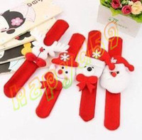 Cheap hot Novelty adult kid Christmas slap bracelet bangle XMA pat circle hand ring Santa Claus snowman bear deer bracelet Christmas gift toy