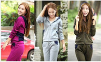 Cheap 2014 Autumn Clothes Women Girl Tracksuits Sport suits Casual Slinky Yoga wear Panelled Sweat suits with Zipper and Hood 75% cotton