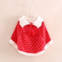 Christmas Girl Knitting Poncho Autumn Children' s Clothi...