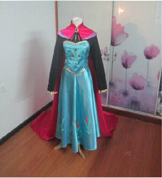 Wholesale Frozen cosplay adult costume snow queen Elsa s anna Coronation Dress Cloak dress shirt gloves