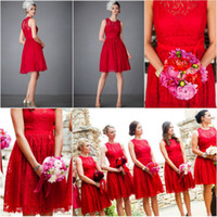 trimmings - Red Lace Bridesmaid Dresses Custom Made Crew Sleeveless A Line Knee Length Ribbon Trim Keyhole Back Short Bridesmaid Gowns