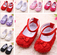 Wholesale infant baby roses flower prewalker shoes todders baby girls rose floral shoes soft sole