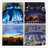 Cheap Brand new modern city building oil painting 3d bedding sets queen king bed duvet comforter cover sheet bedclothes 4pc bed sets