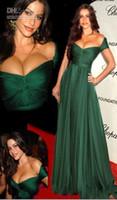 Очаровательные покинуть Изумрудный зеленый Пром платье длинные шифон Ruffles платье Capped рукава красный ковер платья знаменитостей