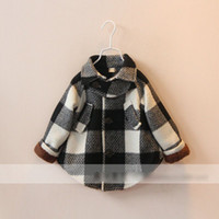 EMS DHL Free Children Gilrs Long Sleeve Autumn Plaid Coat 20...