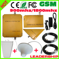 Cheap Wholesale-Cheap Price Free shipping GSM DCS 900mhz 1800mhz dual band mobile phone signal repeater cellular phone booster+antenna+Cable