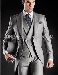 Modern Lapel 2019 Tuxedos Man Suit Slim Fit Sliver Color Groom Bridegroom Suits White House (Jacket+Pants+Tie+Vest) QR69