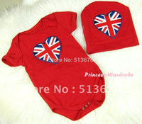 patriotic caps - Red Baby Jumpsuit with Patriotic Britain Heart Print with Cap Set MAJP16