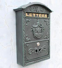 Wholesale Cast Iron Mailbox Postbox Mail Box Wall Mount Metal Post Letters Box Garden Yard Patio Lawn Outdoor Supplies DHL