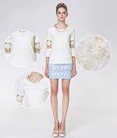 Cheap New Casual Plus Size XXL White Women's Top Hollow Lace Sleeve Flower Chiffon Blouse Ladies Shirt SV005228