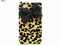 Cheap Oxoqo Black Bling Shiny 3D Bow Leopard Print Case Cover for iphone 4 4S