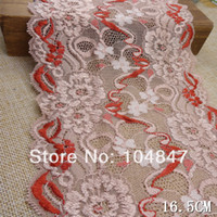 Cheap free shipping 6yds double color stretch lace floral fabric 16.5cm width sewing DIY craft wedding doll dress cloth L1362