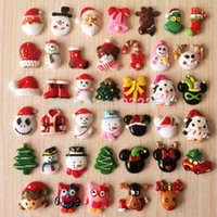 Wholesale 40pcs styles in stock Mixed Christmas Flatback Scrapbooking Girl Hair Bow Center Frame Making Embellishments Crafts DIY