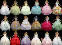 Wholesale The best gift for baby items dress shoes hangers bag accessories Party Doll s Dress Clothes Gown For Barbie doll