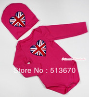 Wholesale Hot Pink Baby Long Sleeve Jumpsuit with Patriotic Britain Heart Print with Cap Set MALS93