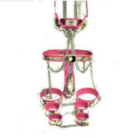 Wholesale 2014 IN1 Male T type Chastity Belt Collar handcuffs Thigh Cuffs ankle cuffs butt plug catheter tube Bra