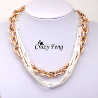 Wholesale Fashion Women s Copper Pipe Necklace Chain Multilayer Costume Necklace Sweater Chain Choker Jewelry