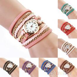 Wholesale-2014 New FAshion Hot Colorful Vintage women watches Weave Wrap Rivet Leather Bracelet wristwatches watch 02T4