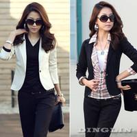 Cheap 2014 New Fashion Women Wear Work Long Sleeve Slim Fit Business Jacket Coat Blazer Suit Size S M L Black White Free Shipping 602