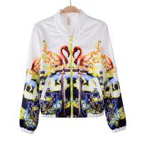 Cheap A1-x111 2014 Autumn Women Fashion Ladies Punk Crane design positioning printed short coat bask clothes tracksuits hot sale
