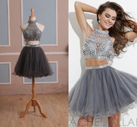 Wholesale In Stock Homecoming Dress Two Pieces Gray Tulle Graduation Gown with Rhinestones and High Neck Short Prom Gown