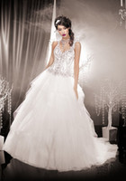 n455 - V Neck European A Line Organza Wedding Dresses With Cascading Ruffles Beads Tiers High Quality Bridal Gowns N455