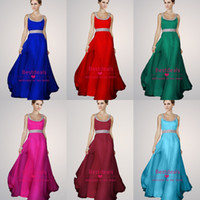 Crystal Prom Dresses Long Beads Spaghetti Straps & Sash Scoo...