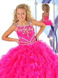2014 Princess Flower Girl Dresses Spagheti Strap Sleeveless Beaded Rhinestone Crystal Ruffles Floor Length Ball Gown Organza Kid's Gowns