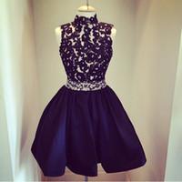 Высокое качество ! Высокая Шея Кружева из бисера Темно-синий Homecoming платья Короткое выпускное платье сшитое без рукавов