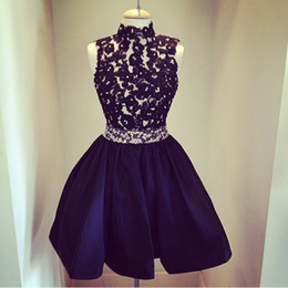 High Quality ! High Neck Lace Beaded Dark Navy Homecoming Dresses Short Prom Dress Custom Made Sleeveless