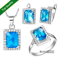 Cheap Free Shipping Wholesale 925 Silver Blue Crystal Bridesmaid Wedding Jewelry Sets Necklaces Pendants Ring Earrings Ulove T008