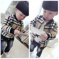 Full Linning Baby Coats 2014 Autumn Plaid Jacket Long Sleeve...