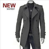 mens trench coat - New Korean fashion mens wool trench casual coat overcoat long outwear double breasted casaco masculino