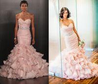 ruffle skirt - 2015 Pink Mermaid Wedding Dresses Sweetheart Sleeveless Crystal Beaded Belt Ruffled Organza Skirt Court Train Bridal Gowns