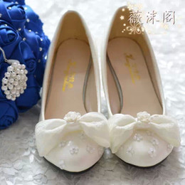2014 Ivory Wedding Shoes Lace Bowknot Beaded 100% Handmade Bridal Shoes Bridal Accessories Beading Wedding Shoes Women Sandal Platforms
