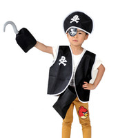 halloween bag - Halloween Costume Masquerade Children Performance Apparel Cosplay Kids Woven Pirate Halloween Decoration Vest Hat Hook Bag Goggle COS10047