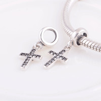 Wholesale Crystal Beads Crystal Bead Silver Cross Crystal Dangle Charm fit European Bracelets No YZ498