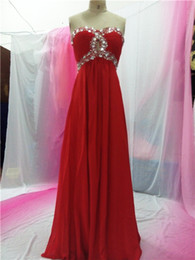 Wholesale In Stock Evening Dresses Special Occasion Dresses Crystals A Line Sweetheart Back Bandage Floor Length Chiffon Real Picture Cheap A03