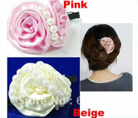 Wholesale Cute Sweet Rose Flower Beads S Shape Hair Barrette Alligator Clip Hairpin two color to choose