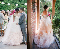 Wholesale 2014 Blush Bridal Gown Sweetheart Sleeveless A Line Cascading Ruffles Court Train Pink Wedding Dresses