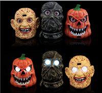 Wholesale 3 Style Halloween Masquerade Supplies Light Bar Halloween Pumpkins High grade Voice Induction Ghost Zombie Pumpkins Light M1608