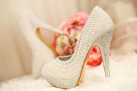 Wholesale 2015 pearl white wedding shoes for women bridal Fashion New boots rhinestone heels glitter sandals evening prom Dress shoes
