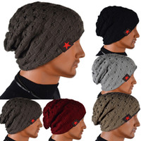 Wholesale S5Q Men s Knit Winter Hat Beanie Reversible Skull Chunky Baggy Warm Cap AAACUD