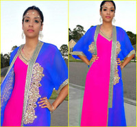Cheap Hot ! Vestido De Noite Royal Blue And Fuchsia Fancy Gold Sequined Beaded Two-Piece Muslim Kaftan Dubai Abaya Long A-Line Evening Dresses