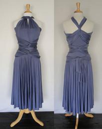 Amazing Lavender Tea Length Short Bridesmaid Dresses Jesery unlimited Convertible Infinity Dresses 2015 Custom Made Plus Size Party Dress