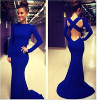 Wholesale Sexy Vestidos De Fiesta Scoop Neck Long Sleeves Open Back Royal Blue Mermaid Long Evening Dresses Hot Sale top sale latest free shippin