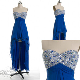 Wholesale Real Image Prom Gown high low cobalt blue sequined chiffon prom dress