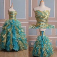 Wholesale Hot Sale In Stock Blue and yellow Quinceanera dresses Ball Gown Sweetheart Beaded Ruffle Tiers Organza Prom Gowns Size