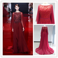 2014 Elie Saab Evening Dresses Bateau Beads Sexy Long Sleeve...