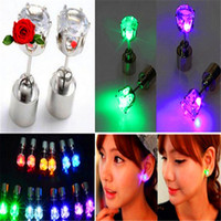 Wholesale Lovers led lighting luminous earrings stud earring sweet sparkling zirconium diamond led earrings LED Flashing Light Stainless Earring Lamp